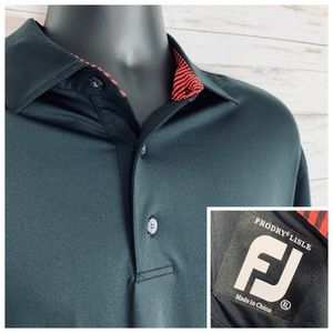 FootJoy Pro Dry Lisle Black Kapalua Polo XL